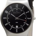 スカーゲン SKAGEN メンズ 腕時計 233 XXLSLB 233シリーズ Denmark Classic ブラック×シルバー ブラックレザー 革ベルト