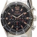 【決算特価】 テクノス TECHNOS T1019TH クロノグラフ クォーツ ブラック×シルバー メンズ腕時計