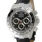 テクノス TECHNOS T4392LB クロノグラフ 24時間計 10気圧防水 ブラック×シルバー メンズ 腕時計 新品 送料無料