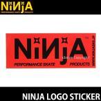 ニンジャ ロゴ ステッカー NINJA LOGO STICKER スケートボード デッキ チューン ブランド SKATEBOARD シール カラー:RED サイズ:12.8×5.0
