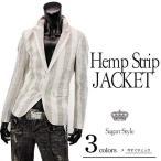 ストライプ麻素材テーラードジャケット メンズ