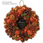 ハロウィン ナチュラルリース オレンジデイズ 35cm  417 アレンジメント 飾り 店舗 室内装飾 かわいい おしゃれ 秋リース