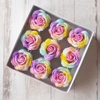 ソープフラワー ローズ レインボー 9個 材料 花材 造花 レインボーローズ 記念品 プレゼント 装飾