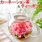 選べるスイーツ ティーポット カーネーション茶 タルト バウムクーヘン 工芸茶 誕生日プレゼント ギフト 母の日 花アレンジ スイーツ