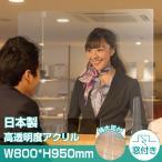 [あすつく] [日本製]高級キャスト板採用 衝突防止窓付きW800*H950mm 飛沫防止 透明 アクリルパーテーション コロナウイルス対策 kap-r8095-m25