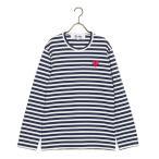 コムデギャルソン COMME des GARCONS ロングTシャツ メンズ 長袖 PLAY STRIPED TEE AZ-T010-051 1 ネイビー/ホワイト