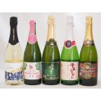 国産甘口スパークリング白ワイン5本セット(ナイアガラ  パイナップル 梅わいん 青森りんご)720ml×5