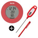 TANITA 温湿度計 & 料理用温度計 セット TT-585-PK + TT-508N-RD