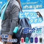 冷感タオル ケース付き 【全5色】 ひんやり クール 持ち運び おしゃれ アウトドア カラビナ収納 携帯 濡らして絞って振るだけ