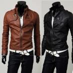 メンズファッション コート ジャケット ライダース フェイクレザー バイク スリム ライダースジャケット アウター バイクウェア 男性用 PUレザー 長袖