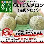 ショッピングメロン 送料無料 北海道より産地直送 JAきょうわ らいでんメロン 赤肉 大玉 8キロ (5玉から6玉入り)