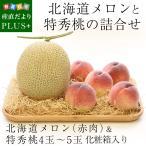 北海道メロンと特秀桃 詰合せフルーツセット 化粧箱入り めろん もも 送料無料 お中元ギフト
