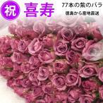 喜寿祝い 紫のバラ77本 50cm(徳島県産 バラ農園から産地直送 父 母 77歳 誕生日ギフト)(注)在庫お問い合わせください