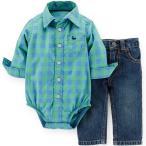 Carter's(カーターズ) チェックシャツロンパース&デニムパンツセット