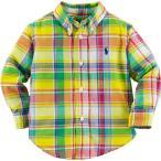 Ralph Lauren(ラルフローレン) 長袖マドラスチェックワンポイントボタンダウンシャツ(Yellow)