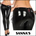 SANNA'S バックレースアップ 付き エナメルパンツ・ブラック/黒 日本製