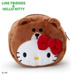LINE FRIENDS & ハローキティ フェイス形ポーチ(キティ なりきりフレンズ)