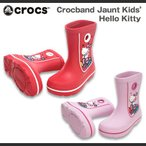 【超目玉 残り僅か!】キッズ ジュニア クロックス クロックバンド ジョーント キッズ ハローキティー Crocs Crocband Jaunt Kids Kitty 長靴 レインブーツ