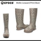 【超目玉 残り僅か!】レディース クロックス ウェリー レパード プリント ブーツ ウィメンズ Crocs Wellie Leopard Print Boot 長靴 レインブーツ
