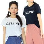 セリーヌ CELINE クラシックラウンドネックシャツ CELINEプリントジャージー 半袖Tシャツ 2X314916G レディース