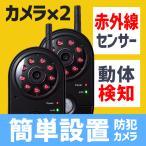 防犯カメラ ワイヤレス 監視カメラ 屋内用 モニターセット 2台セット SD&USBメモリ録画 赤外線 暗視 レコーダーセット おすすめ 400-CAM035-2(即納)