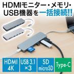 USB ハブ Type-C HDMI出力 SD/microSDカードリーダー付き(即納)