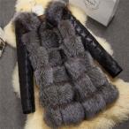 秋冬 レディース ファーコート 毛皮コート ロッグコート フォックスファー フェイクファー アウター ジャケット ロング丈 暖かい 革ジャン