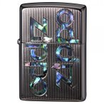 ジッポー オイルライター SHELL INLAY ZIPPO LOGO/プラチナ 両面エッチング 貝貼り 2PTK-LOGO&ギフトボックスセット(オイル+フリント+BOX)