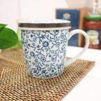 和食器 アウトレット強化  蓋付マグカップ(青い花集い) 洋食器 カフェ