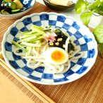 和食器 アウトレット OUTLET 藍&ホワイト 渕波市松パスタカレー皿 23cm   返品不可