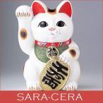 Yahoo!サラセラ 食器のことならSARA-CERA招き猫  白小判猫7号右手  貯金箱 ギフト箱入り  オブジェ 縁起物 まねきねこ 幸福 置き物 〔お取り寄せ商品〕