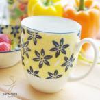 美しいボレスワヴィエツの街 イエローバック マグカップ (ポタリー風,ポタリーフィールド,北欧 花柄 リバティプリント