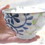 有田焼き 椿つばき リーフ唐草 ご飯茶碗 (大 青ブルー)