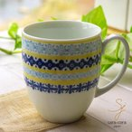 美しいボレスワヴィエツの街 メリーイエローフローレット マグカップ (ポタリー風,ポタリーフィールド)