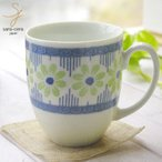 美しいボレスワヴィエツの街 グリーンフラワー マグカップ (ポタリー風,ポタリーフィールド)