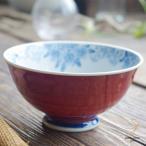波佐見焼 染付け桜の カラー ご飯茶碗 飯碗(トマトレッド赤)和食器 和風