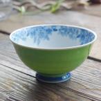 波佐見焼 染付け桜の カラー ご飯茶碗 飯碗(新緑グリーン 緑)和食器 和風
