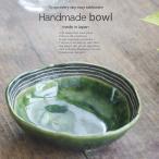 和食器 シャキシャキ蓮根きんぴらごぼう ライン織部グリーン 楕円オーバル 三つ足 小鉢 食器 おうちごはん うつわ