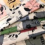 綿麻混キャンバス生地(AP11702-1)ネコ柄 生地巾110cm   数量1(50cm)475円  国産