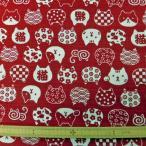 綿和柄PTドビー織生地(AP62305)1C/レッド  生地巾110cm 数量1(50cm)400円 国産