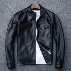 革ジャン レザージャケット メンズ 本革 バイク ライダース 羊革 シングル ショート スリムタイプ 細身 ブランド ジャケット ミリタリー レザーコート