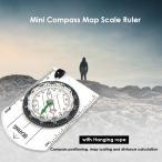 方位磁石【オイル式】手のひらサイズの軽量コンパス 多機能 方角 ものさし 定規 地図 縮尺 アウトドア ハイキング 登山 小型 コンパクト ストラップ付き