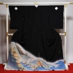送料無料 フルオーダー手縫いお仕立て付き 金彩友禅伝統工芸士「和田光正」氏作 最高級黒留袖 雅び絵巻