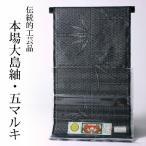破格値 本場大島紬 5マルキ高級紬着尺 笹/竹 黒灰 stock