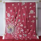観賞用着物 アンティーク商品(年代もの) 一点もの 振袖 薔薇系色/孔雀/丹後ちりめん銀通し/手描手刺繍