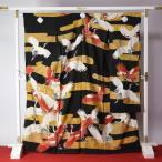 観賞用着物 一点もの アンティーク商品(年代もの) 振り付き振袖 霞に鶴の舞い/黒地/ちりめん生地/手描き手刺繍 石持ち