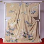 加賀友禅 訪問着 送料無料 フルオーダー手縫いお仕立て付き 本加賀友禅 宮野勇造氏作 シャクナゲ(春のお花) 薄いベージュ系色 身長167cmまで、裄
