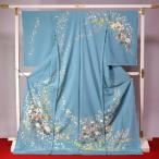 加賀友禅 訪問着 送料無料 フルオーダー手縫いお仕立て付き 本加賀友禅 田中勲氏作 天の川状の花々(春の着用におすすめ) 青緑色 身長164cmまで、