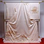 藤井寛 訪問着 送料無料 フルオーダー手縫いお仕立て付き 皇室献上作家藤井寛氏作 ごく薄い橙色 雲取りに花々 身長175cmまで、裄71.5cmまで