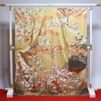 振袖 新品未使用品 お仕立て済み お仕立て上がり 正絹 ブロンド色 花々の古典柄 身長157cm〜164cmくらいの方に 裄66cm  送料無料 正絹